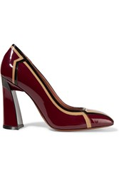 Marni Color Block Patent Leather Pumps Red