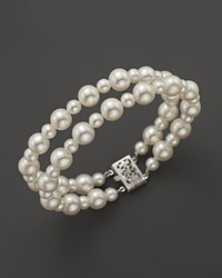 Bloomingdale's Cultured Freshwater Pearl Two Row Bracelet In 14K White Gold