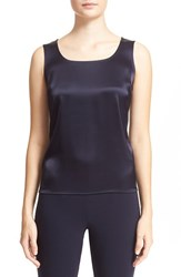 St. John Women's Collection Liquid Satin Round Neck Shell Navy