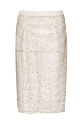 Great Plains Siren Sequin Pencil Skirt White