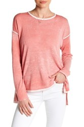 Cullen Mesh Side Draped Shirt Pink