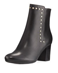 Neiman Marcus Jaimi Leather Studded Ankle Bootie Black Gold