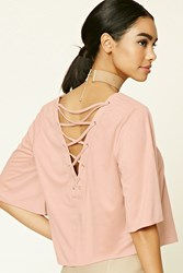 Forever 21 Faux Suede Lace Up Top Blush
