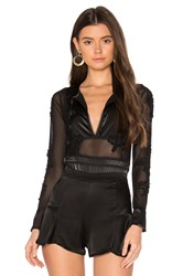 For Love And Lemons X Skivvies Soliana Applique Bodysuit Black