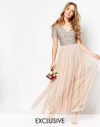 Maya V Neck Maxi Tulle Dress With Tonal Delicate Sequins Taupe Blush Pink