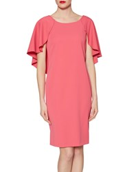 Gina Bacconi Moss Crepe Dress With Bead Trimmed Cape Detail Coral Red