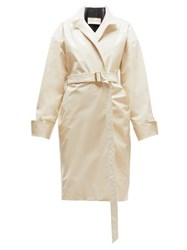 Alexandre Vauthier Oversized Double Breasted Patent Leather Coat Ivory