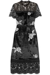 Erdem Keni Lace Paneled Silk Faille Trimmed Faux Pearl Embellished Velvet Dress Black