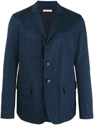 Marni Unconstructed Single Breasted Blazer Blue