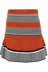 Sandro Jella Striped Stretch Knit Mini Skirt Tan
