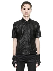 Christian Dada Nappa Leather Short Sleeve Shirt
