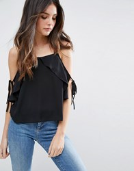 Asos Thick Strap Cami With Tie Cold Shoulder Black White
