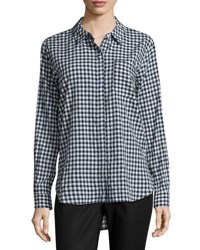 Vince Camuto Gingham Button Down Blouse Navy