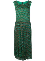 Aspesi Geometric Printed Dress Green