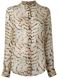 Tom Ford Printed Band Collar Shirt Nude Neutrals