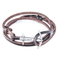 Anchor And Crew Admiral Leather And Silver Bracelet Brown