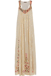 Vineet Bahl Embroidered Voile Maxi Dress White
