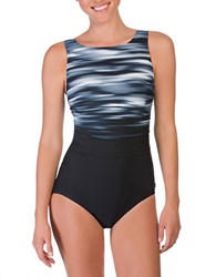 Reebok Abstract One Piece Swimsuit Grey