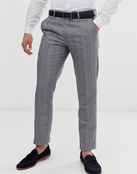 Penguin Original Slim Fit Grey Textured Over Check Suit Trouser