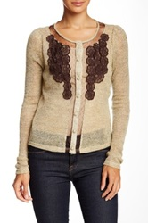 Ryu Embroidered Open Knit Sweater Beige