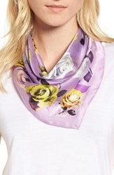 Halogen Print Silk Scarf Purple Glam Rock Rose Print
