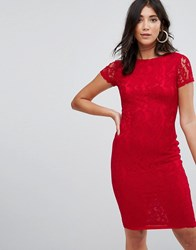 Ax Paris Crochet Lace Midi Dress Red