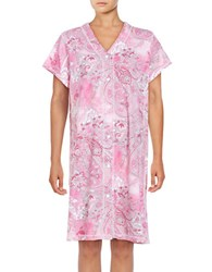 Miss Elaine Short Sleeve Floral Print Nightgown Red