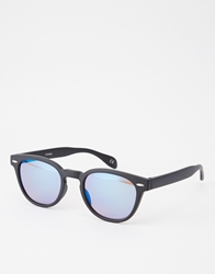 Asos Rounded Wayfarer Sunglasses In Black
