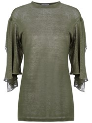 Sissa 7 8 Cut Out Sleeves Blouse Green