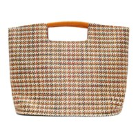 Simon Miller Orange And White Houndstooth Large Birch Tote