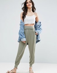 Asos Harem Pants In Jersey Khaki Multi