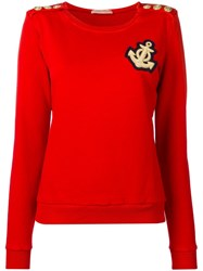 Balmain Pierre Buttoned Shoulders Sweatshirt Red