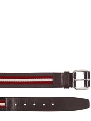 Bally 40Mm Saffiano Leather Belt W Stripes Brown Red