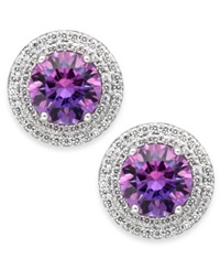 Arabella Purple And White Swarovski Zirconia Stud Earrings In Sterling Silver