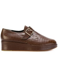 Robert Clergerie Monk Strap Platform Loafers Leather Brown