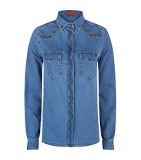 Hilfiger Collection Chambray Western Shirt Female Blue