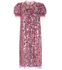 Dolce And Gabbana Sequin Embellished Dress Pink