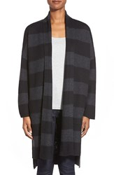 Eileen Fisher Stripe Merino Knee Length Kimono Coat Black Charcoal