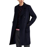 Paul Smith Double Breasted Brushed Wool Blend Peacoat Navy