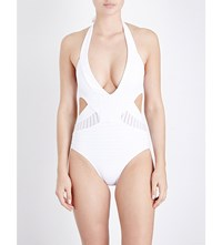 Jets By Jessika Allen Parallels Plunge Halterneck Swimsuit White