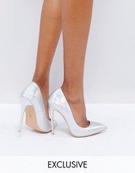 Lost Ink Silver Iridescent Heeled Court Shoes Irredescent Exc