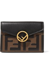 Fendi Embellished Embossed Leather Wallet Black