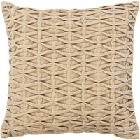 Chandra Textured Contemporary Cotton And Velvet Pillow Beige 2 18 Inch