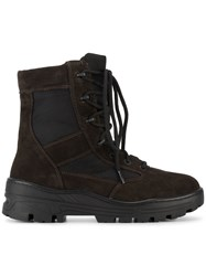 Yeezy Lace Up Combat Boots Men Suede Nylon Rubber 41 Brown