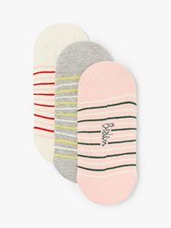 Boden Mini Stripe No Show Socks Pack Of 3 Multi