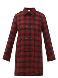 Red Valentino Redvalentino Double Breasted Prince Of Wales Checked Coat Black Black Red