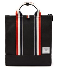 Thom Browne Tricolour Stripe Canvas Tote Bag Black