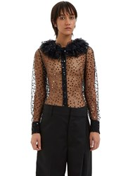 Saint Laurent Ruffle Collared Sequin Tulle Shirt Black