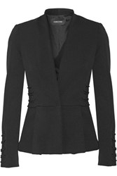 Cushnie Et Ochs Lace Effect Stretch Twill Peplum Blazer Black
