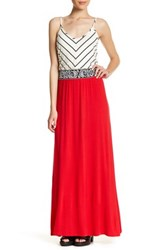 Vanity Room Striped Bodice Maxi Dress Petite And Plus Size Red